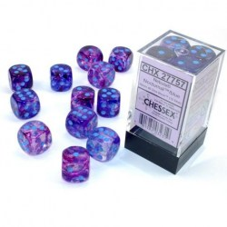Chessex 12 D6 Dice Set - Luminary Nebula Nocturnal & Blue (Glowing/Sparkle) in Dice sets