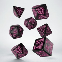Комплект зарове: Call of Cthulhu - Black & magenta Polyhedral 7 Dice Set в Зарове за игри