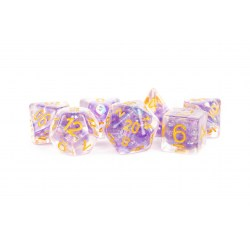 Polyhedral 7-Die Set: Metallic Dice Games - Pearl Purple with Gold Numbers in D&D Dice Sets