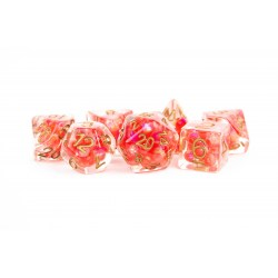 Polyhedral 7-Die Set: Metallic Dice Games - Pearl Red with Copper Numbers in D&D Dice Sets
