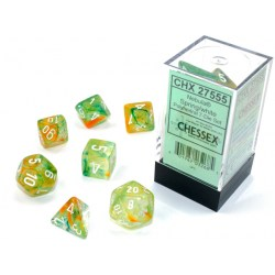 D&D Dice Set: Chessex Luminary Nebula Spring & White (Glowing/Sparkle) in Dice sets