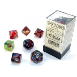 D&D Dice Set: Chessex Luminary Nebula Primary & Blue (Glowing/Sparkle) in Dice sets