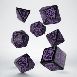 Комплект зарове: Call of Cthulhu: Horror on the Orient Express - Black & Purple Polyhedral 7 Dice Set в Зарове за игри