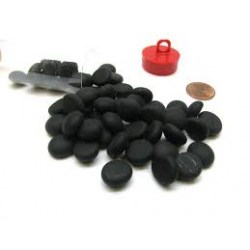 Chessex: Opal Black Frosted Gaming Stones (40) in Sleeves & Accessories