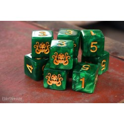 Elder Dice: Brand of Cthulhu - Drowned Green D6 Dice Set (9) в Зарове за игри
