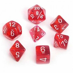 D&D Dice Set: Chessex Translucent Red/White 7 Dice Set in Dice sets
