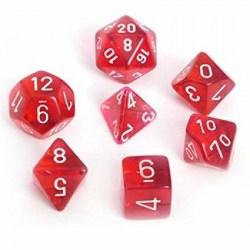 Комплект D&D зарове: Chessex Translucent Red/White 7 Dice Set в Зарове за игри