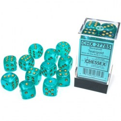 Chessex 12 D6 Dice Set - Luminary Borealis Teal & Gold (Glowing/Sparkle) in Dice sets