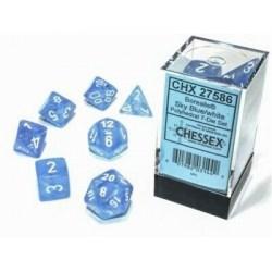 Комплект D&D зарове: Chessex Luminary Borealis Blue & White (светещи) в D&D и други RPG / D&D Зарове