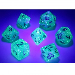 Polyhedral 7-Dice Set: Chessex Luminary Borealis Light Green & Gold (Glowing/Sparkle) in D&D Dice Sets