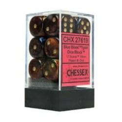 Комплект D6 зарове: Chessex 12 D6 Dice Set - Scarab Blue Blood & Gold в Зарове за игри