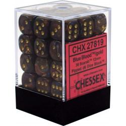 Комплект D6 зарове: Chessex Scarab Blue Blood & Gold 36 броя 12mm в Зарове за игри