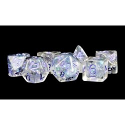 Polyhedral 7-Die Set: Metallic Dice Games - Pearl with Purple Numbers in D&D Dice Sets