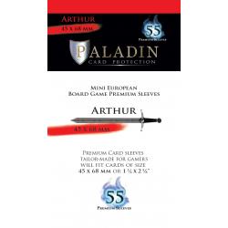 Paladin Sleeves - Arthur Premium Mini European (45x68mm) 55 Pack, 90 Microns in Mini European Board Game Size (45x68мм)