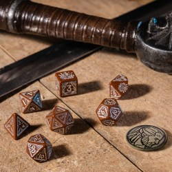 Polyhedral 7-Die Set: Q-Workshop The Witcher Geralt - The Roach's Companion (Brown & Silver) in D&D Dice Sets