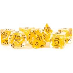 Polyhedral 7-Die Set: Metallic Dice Games - Pearl Citrine with Copper Numbers in D&D Dice Sets