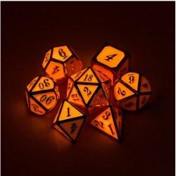 Metal & Enamel 7 Dice Set: Red (Glow in the Dark) в D&D и други RPG / D&D Зарове