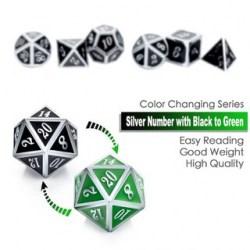 Комплект D&D зарове: Metal & Enamel 7 Dice Set: Shifting Colors Black to Green & Silver Numbers в D&D и други RPG / D&D Зарове