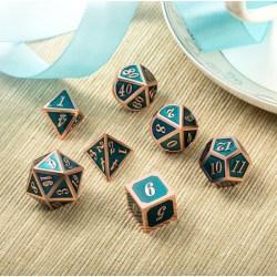 Комплект D&D зарове: Metal & Enamel 7 Dice Set: Teal & Copper в D&D и други RPG / D&D Зарове