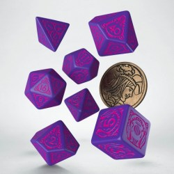 Polyhedral 7-Die Set: Q-Workshop The Witcher Dandelion - The Hearts' Conqueror (Purple & Pink) in D&D Dice Sets