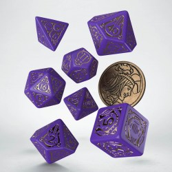 Polyhedral 7-Die Set: Q-Workshop The Witcher Dandelion -  Viscount de Lettenhove (Purple & Silver) in D&D Dice Sets