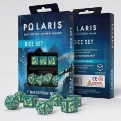 Комплект зарове: Q-Workshop Polaris Rpg Dice Set (3D6,3D10,1D20) - Turqoise & Yellow в Зарове за игри