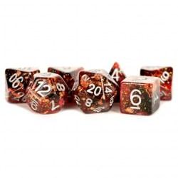 Комплект D&D зарове: Polyhedral 7-Die Set: Metallic Dice Games - Fire в D&D и други RPG / D&D Зарове