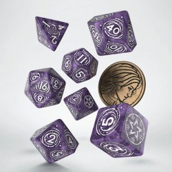 Polyhedral 7-Die Set: Q-Workshop The Witcher Yennefer -  Lilac and Gooseberries (Marbled Purple & White) в D&D и други RPG / D&D Зарове