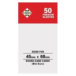 Протектори за карти 45x68 мм Kaissa Premium Mini European Board Game Standard Card Sleeves (50 броя, за настолни игри, прозрачни, плътни) в Mini Euro Size (45x68 мм)
