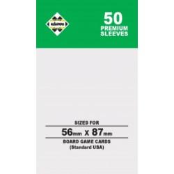 Протектори за карти 56x87 мм Kaissa Premium Standard American Card Sleeves (50 броя, за настолни игри, прозрачни, плътни) в Standard USA (56x87 мм)
