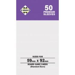Протектори за карти 59x92 мм Kaissa Premium Standard European Card Sleeves (50 броя, за настолни игри, прозрачни, плътни) в Standard Euro (59x92 мм)