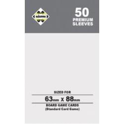 Протектори за карти 63.5x88 мм Kaissa Premium Standard Magic Card Size Sleeves (50 броя, за настолни игри и MTG, прозрачни, плътни) в LCG, 63.5x88 мм)