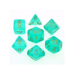 Polyhedral 7-Die Set: Chessex Borealis Teal & Gold in Dice sets