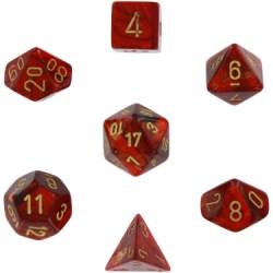 Комплект D&D зарове: Chessex Scarab Scarlet & Gold в Зарове за игри