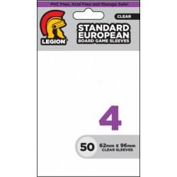 Протектори за карти Legion Supplies Board Game Sleeve 4 - Standard European за 62x96мм карти (50 броя плътни, прозрачни) в Standard Euro (59x92 мм)