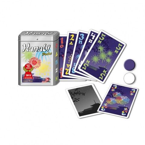 Hanabi Pocket-Box (Немско издание, метална кутия, 2014) - забавна игра с карти