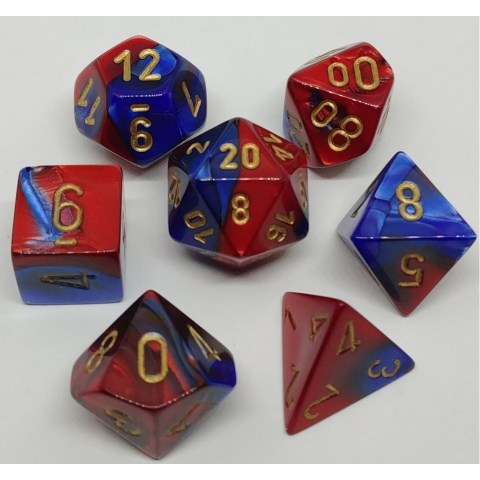Polyhedral 7-Die Set: Chessex Blue-Red & Gold in Dice sets