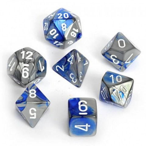 Polyhedral 7-Die Set: Chessex Blue-Steel & White in Dice sets