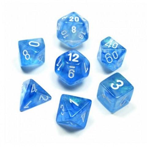 Polyhedral 7-Die Set: Chessex Borealis Sky Blue & White