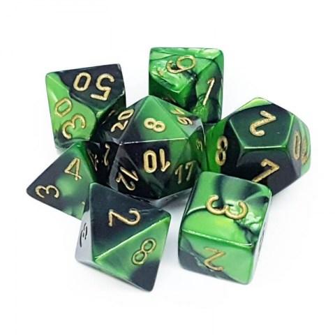 Комплект D&D зарове: Chessex Gemini Black-Green & Gold