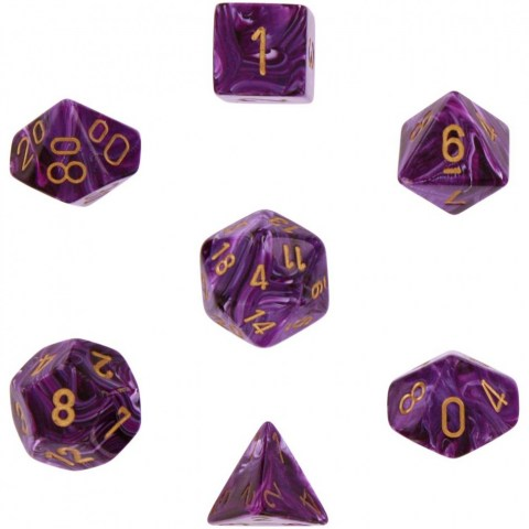 Polyhedral 7-Die Set: Chessex Vortex Purple & Gold