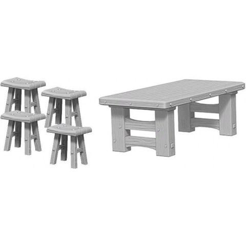 Pathfinder Battles Deep Cuts Unpainted Miniatures Wave 4: Wooden Table & Stools