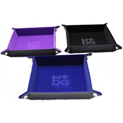 """Velvet Folding Dice Tray 10x10"""" - Blue"""