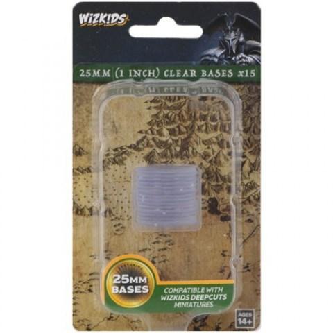 Wizkids Deep Cuts Unpainted Miniatures: 25mm Clear Bases (15 pcs.)