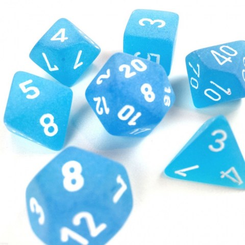 Polyhedral 7-Dice Set: Chessex Frosted Blue & White