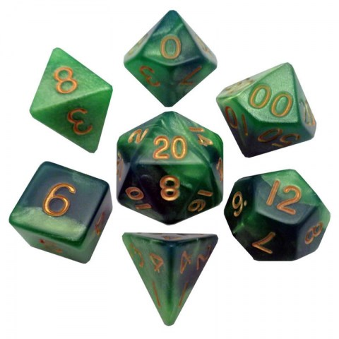 MDG Games: Resin Dice 16mm Green Light Green with Gold Numbers Dice Set