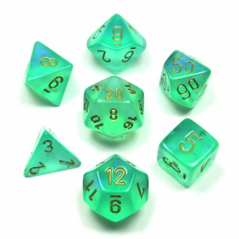 Polyhedral 7-Dice Set: Chessex Borealis Light Green & Gold in Dice sets