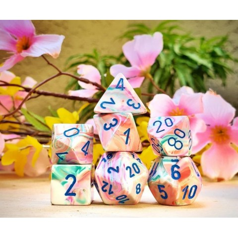 Polyhedral 7-Dice Set: Chessex Festive Pop Art & Blue in Dice sets
