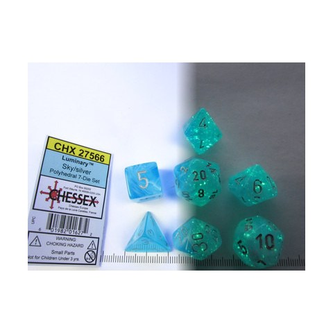 Polyhedral 7-Dice Set: Chessex Luminary Sky & Silver (Glowing/Sparkle)