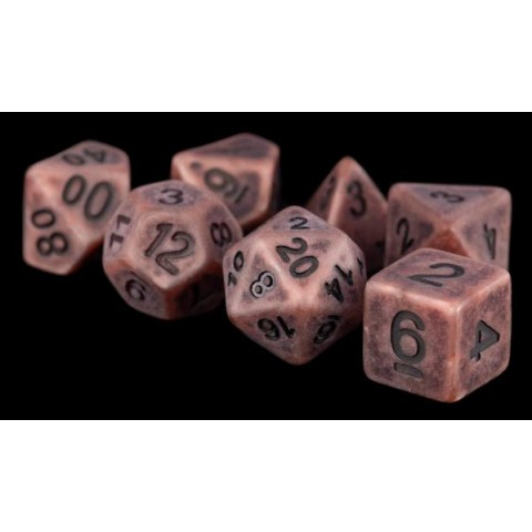 Metallic Dice Games- Ancient Copper Resin 16mm Resin Poly Dice Set in D&D Dice Sets